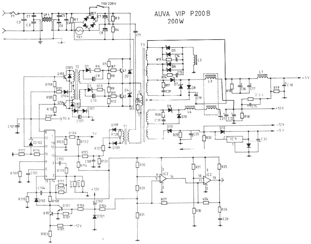 Схема AUVA VIP P200B мощностью