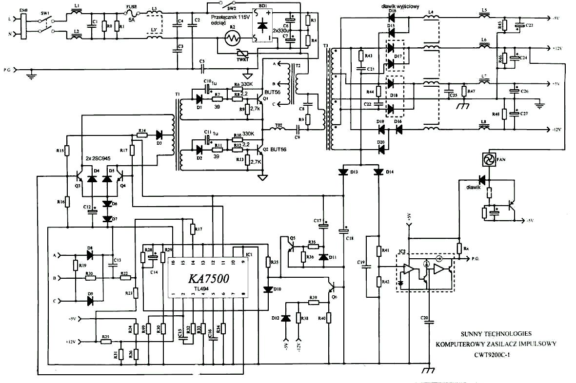 Электрическая схема усилителя нч тесла.