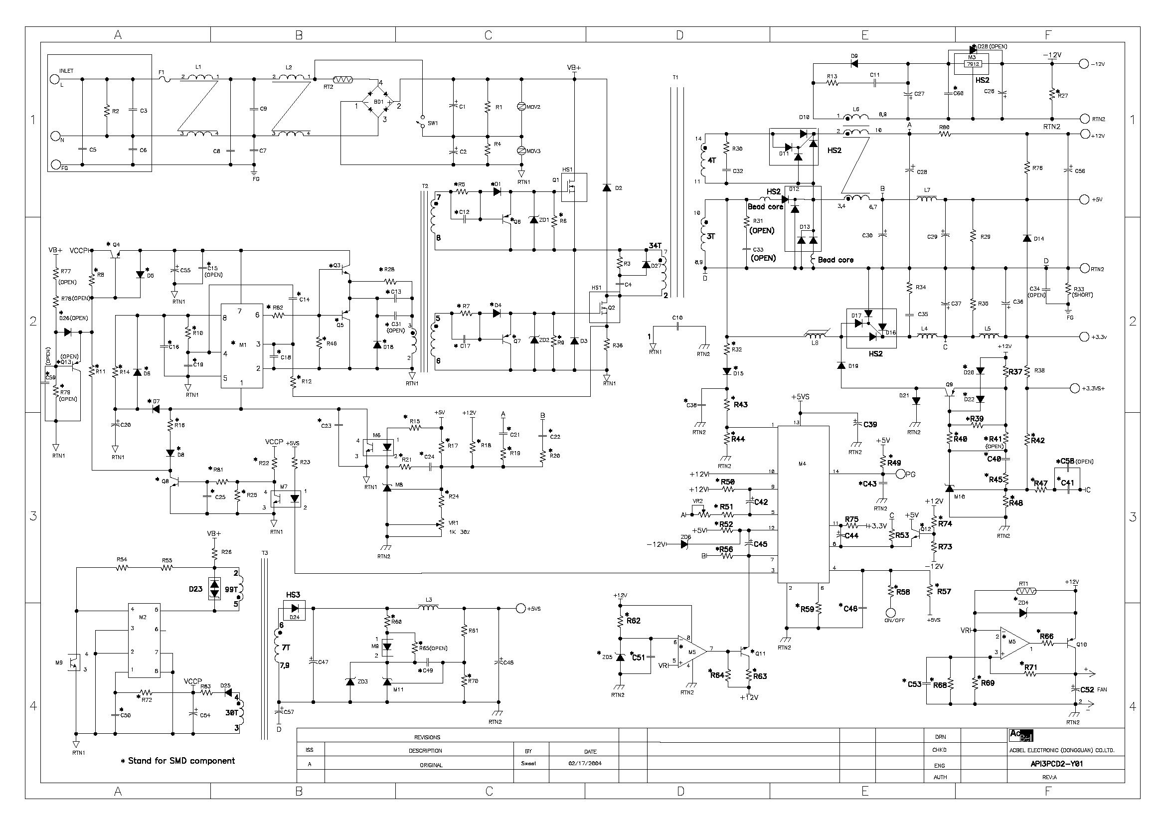 Принципиальная электрическая схема блока питания компьютера 450w
