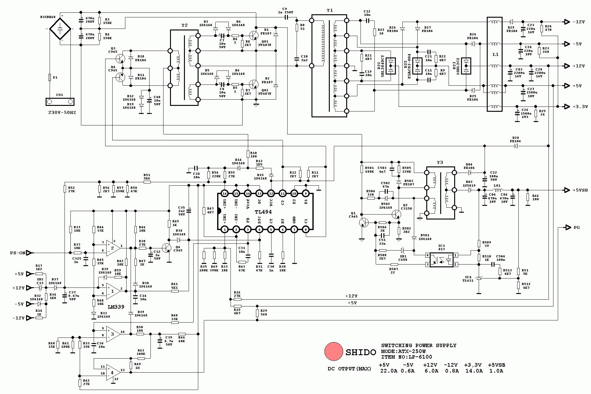 Телевизор orchid схема электрическая.  Схема блока питания компьютера atx 400w.